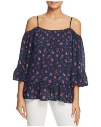 Beach Lunch Lounge - Printed Cold-shoulder Blouse - Lyst