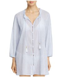 Tommy Bahama - Striped Gauze Button-front Shirt Dress Swim Cover-up - Lyst