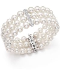 Bloomingdale's - Cultured Freshwater Pearl And Diamond Bracelet In 18k White Gold - Lyst