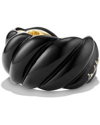 David Yurman - Black Resin Sculpted Cable Cuff Bracelet With 18k Gold - Lyst