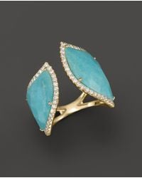 Meira T - 14k Yellow Gold Amazonite Double Open Curve Ring - Lyst