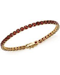 Bloomingdale's - Garnet Tennis Bracelet In 14k Yellow Gold - Lyst
