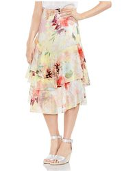 Vince Camuto - Faded Blooms Tiered Midi Skirt - Lyst