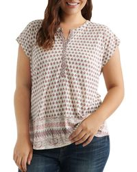 Lucky Brand - Cap-sleeve Border-print Top - Lyst