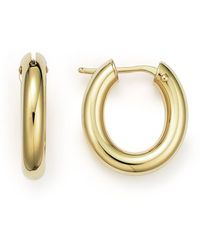 Roberto Coin - 18k Yellow Gold Oval Hoop Earrings - Lyst