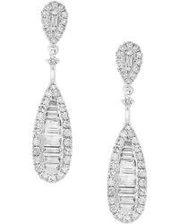 Bloomingdale's Diamond Baguette Teardrop Earrings In 14k White Gold