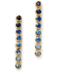 Shebee - 14k Yellow Gold Ombré Sapphire Linear Drop Earrings - Lyst