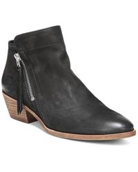 Sam Edelman - Women's Packer Almond Toe Leather Low Heel Booties - Lyst
