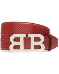 Bally - Mirror B Buckle Carbon Leather Belt - Lyst