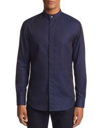 Armani - Emporio Striped Diamond-print Regular Fit Sport Shirt - Lyst