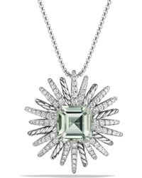 David Yurman - Starburst Necklace With Diamonds And Prasiolite In Silver - Lyst