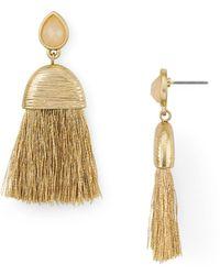 Aqua - Faceted Tassel Drop Earrings - Lyst