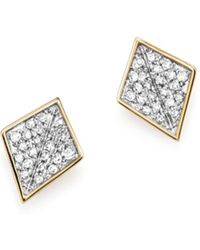 Adina Reyter - Sterling Silver And 14k Yellow Gold Pavé Diamond Folded Square Stud Earrings - Lyst