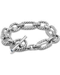David Yurman - Cushion Link Bracelet With Diamonds - Lyst