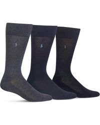 Polo Ralph Lauren - Cushioned Crew Socks - Pack Of 3 - Lyst