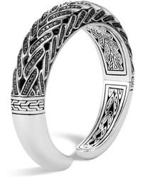 John Hardy - Sterling Silver Classic Chain Small Graduated Kick Cuff With Black Sapphire & Black Spinel, 14.5mm - Lyst