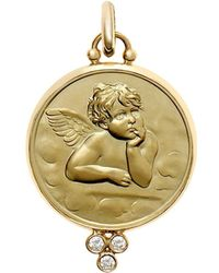 Temple St. Clair - 18k Yellow Gold Angel Pendant With Diamond Granulation - Lyst