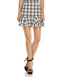 Aqua - Flounce-hem Plaid Skirt - Lyst