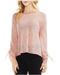 Vince Camuto - Drawstring Cuff Pointelle Jumper - Lyst