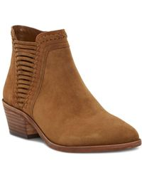 Vince Camuto - Women's Pippsy Almond Toe Suede Low-heel Booties - Lyst