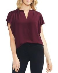 Vince Camuto - Shirred Flutter-sleeve Top - Lyst