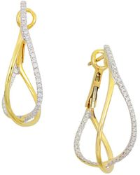 Frederic Sage | 18k Yellow Gold Crossover Diamond Hoop Earrings | Lyst