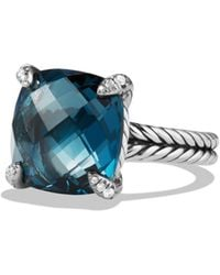 David Yurman - Châtelaine Ring With Hampton Blue Topaz And Diamonds - Lyst