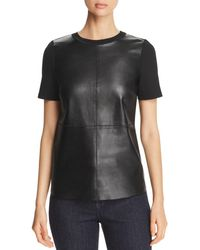 Elie Tahari - Tiff Leather Front Top - Lyst