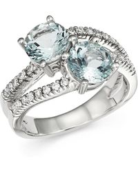 Bloomingdale's - Aquamarine And Diamond Two Stone Ring In 14k White Gold - Lyst