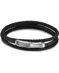 John Hardy - Sterling Silver Bamboo Black Leather Triple Wrap Bracelet - Lyst