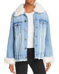 525 America - Real Lamb Shearling Trimmed Denim Jacket - Lyst