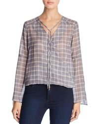 Kenneth Cole - Windowpane Plaid Wrap-front Top - Lyst