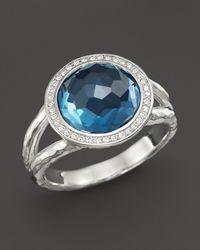 Ippolita - Sterling Silver Stella Mini Lollipop Ring In London Blue Topaz With Diamonds - Lyst