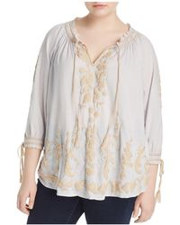 Lucky Brand - Embroidered Peasant Top - Lyst