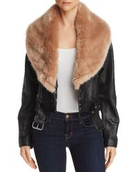 PAIGE - Rizza Faux-fur-trimmed Leather Moto Jacket - Lyst