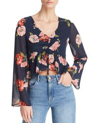 Aqua - Floral Ruched Drawstring Cropped Top - Lyst