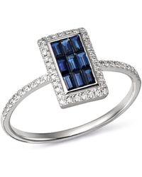 KC Designs - 14k White Gold Mosaic Illusion Sapphire & Diamond Ring - Lyst
