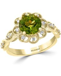 Bloomingdale's - Peridot & Diamond Flower Ring In 14k Yellow Gold - Lyst