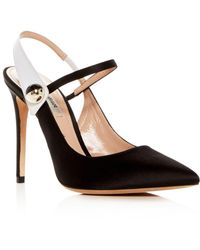 Giorgio Armani - Women's Decolette Satin Slingback Pointed Toe Pumps - Lyst