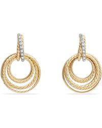 David Yurman | Crossover Drop Earrings With Diamonds In 18k Gold | Lyst