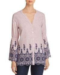 NIC+ZOE - Nic+zoe Ciao Bella Embroidered Shirt - Lyst