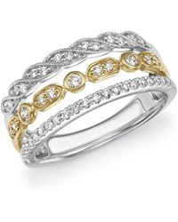 Bloomingdale's - Diamond Triple Row Band In 14k Yellow And White Gold, .40 Ct. T.w. - Lyst