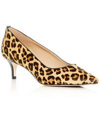 Joan Oloff - Women's Callie Leopard Print Calf Hair Kitten-heel Pumps - Lyst
