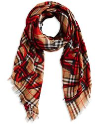 Burberry - Marker Text Check Gauze Scarf - Lyst