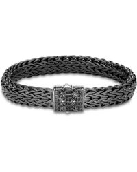 John Hardy - Men's Blackened Sterling Silver Classic Chain Large Flat Link Bracelet With Black Sapphire - Lyst