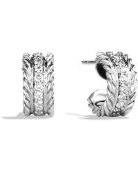 David Yurman - Cable Classics Extra Small Earrings With Diamonds - Lyst
