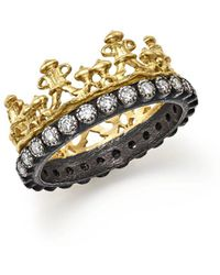 Armenta - 18k Yellow Gold And Blackened Sterling Silver Old World Half Crown Diamond Ring - Lyst