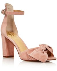 Vince Camuto - Women's Carrelen Suede Bow Block Heel Sandals - Lyst