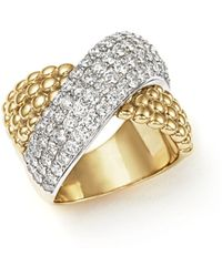 Bloomingdale's - Diamond Crossover Ring In 14k Yellow And White Gold, 2.15 Ct. T.w. - Lyst