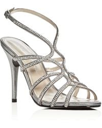 Caparros - Helena Embellished Metallic Satin High Heel Sandals - Lyst